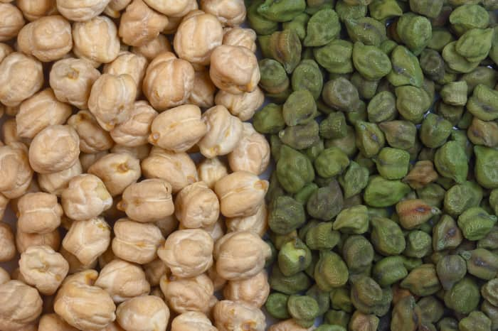 white and green chickpeas