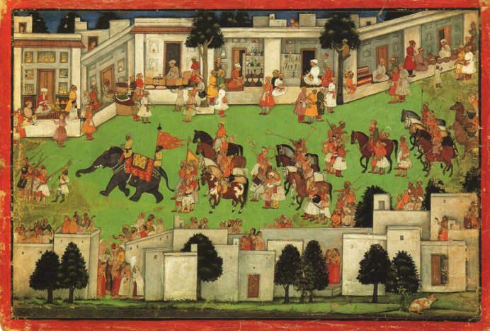 Marriage Procession in a Bazaar, Mandi, 1645