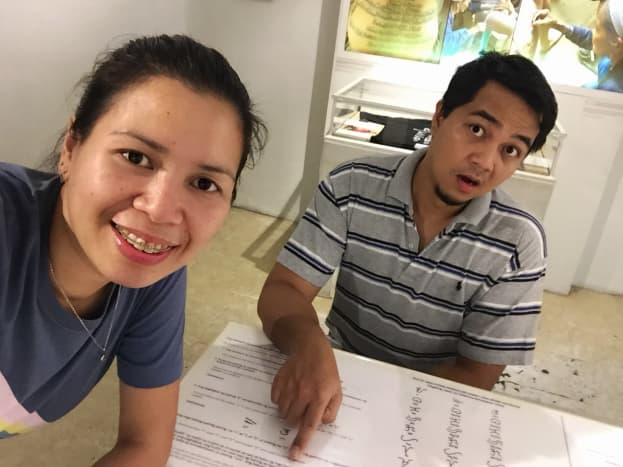 """Hubby and I taking a break from our """"Baybayin"""" discussion..."""