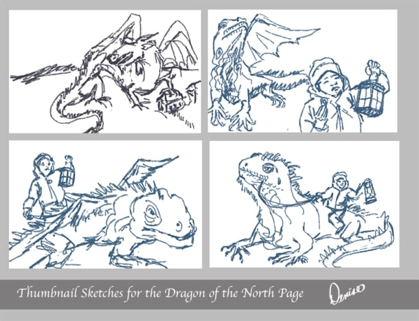 Thumbnail drawing ideas for the illustration.