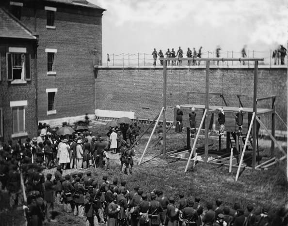 The Execution of the conspirators, Ft. McNair, Washington, DC, July 7, 1865.