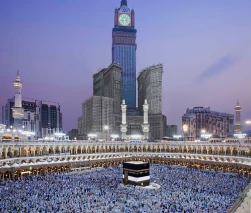 A breathtaking view of the Kaba with the Royal Clock Tower in the background