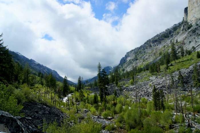 Blodgett Canyon and Blodgett Creek run 12 miles to Blodgett Lake.