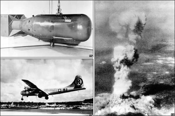"""B29 Enola Gay and bomb. National Museum of the USAF.  The bomb was called """"Little Boy"""" and in 2015, an eponymous film was released."""