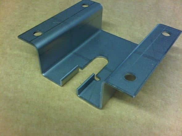 Sheet metal CNC bending, mild steel bracket with several bends produced om a Trumpf 7036 CNC press brake in 2mm thick material.
