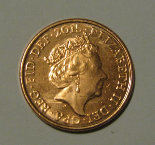 One penny with the Queen's Head on the face