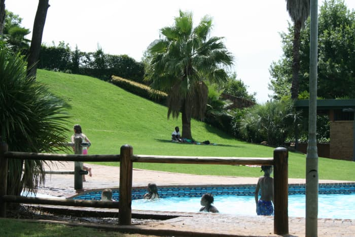 The park is characterised in summer, at least, by wonderful green grass on attractive sloping grounds