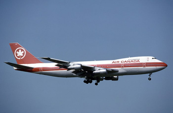 An Air Canada 747.  Image courtesy Eduard Marmet and Wikipedia Commons.