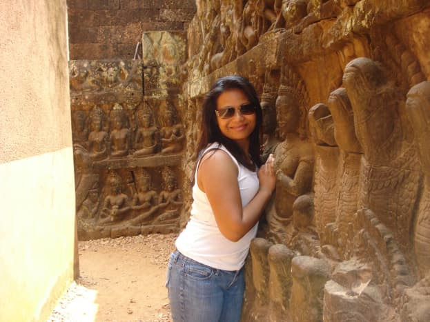 My Wife In a Temple at Angkor Wat Cambodia Srok Khmer