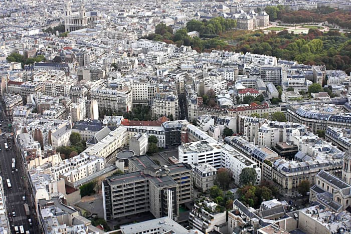 View from Montparnasse. This image to the northeast includes the Palais and Jardin du Luxembourg top right, and the Church of Saint Sulpice to the top left