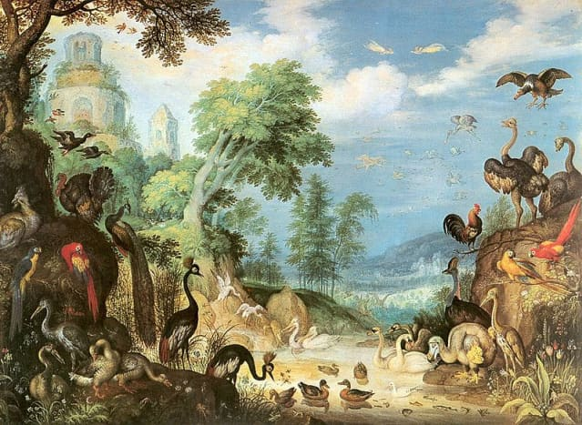 Landscape with Birds, showing a Dodo in the lower right, by Roelant Savery, 1628
