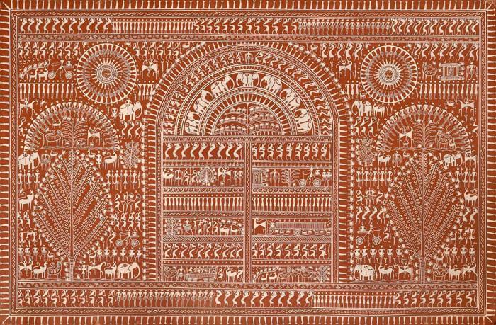 Exotic India Life in Warli - Warli Painting On Patti - Folk Art of The Warli Tribe (Maharashtra)