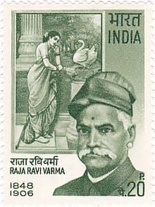 Raja Ravi Varma on a 1971 stamp of India