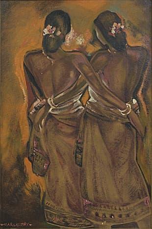 Bengal Women, painted around 1950 by Manishi Dey