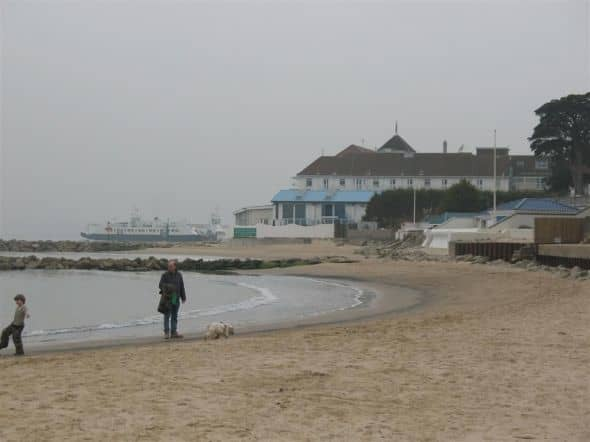 The Haven Hotel and Sandbanks Ferry from the beach at Shoreacres
