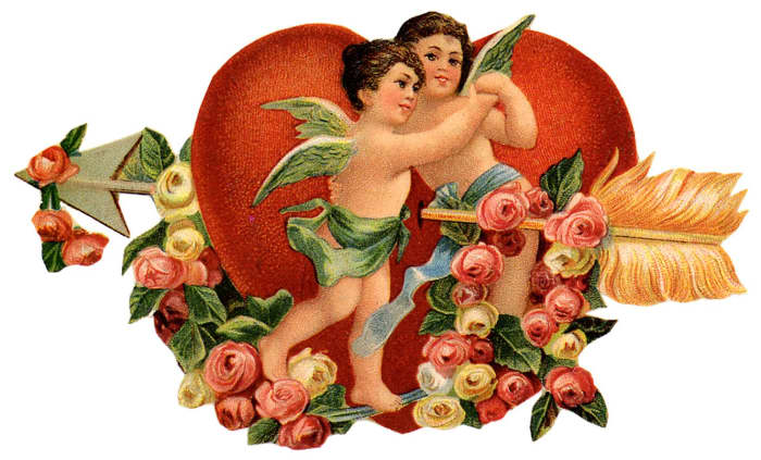 Free vintage angels with red Valentines Day heart