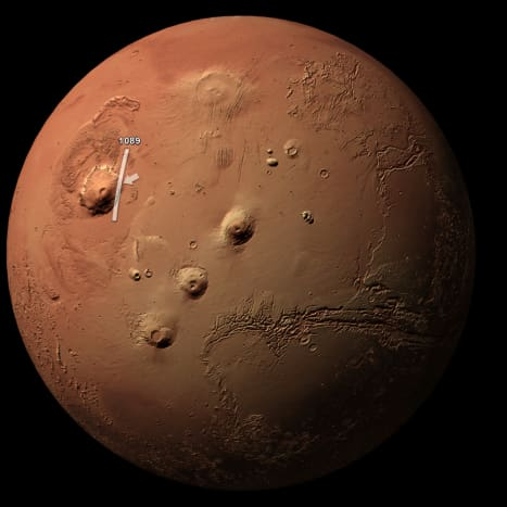 Mars globe, showing the position of the Olympus Mons volcano.