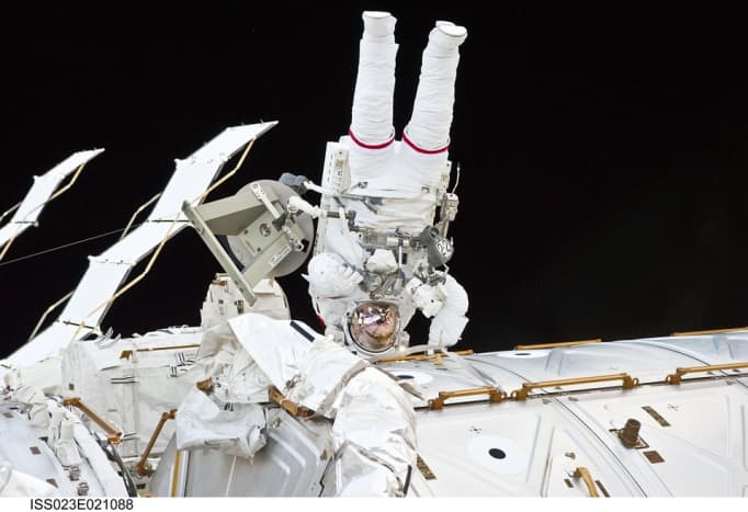 Aerospace jobs will continue to increase. This image is of an astronaut at the ISS.