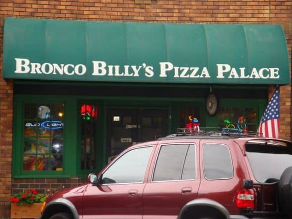 """Bronco(dropped """"h"""") Billy's Pizza Palace is an old-fashioned small town family style pizza joint. The pizzas with excellent crust, fresh ingredients and generous toppings can feed an army. A slice is almost as big as a full pizza. One will not leave"""