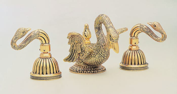bathroom jewelry in elaborate fixtures of artful swan