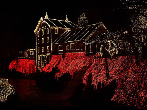 Clifton Mill, rear side of property by night.