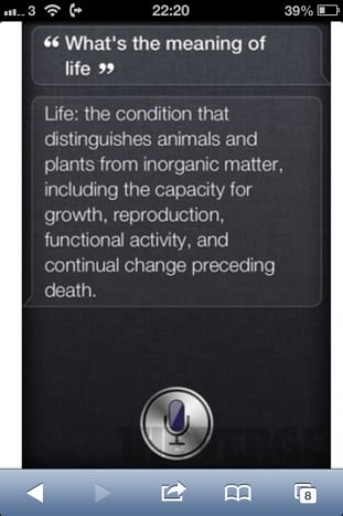 Siri what's the meaning if life