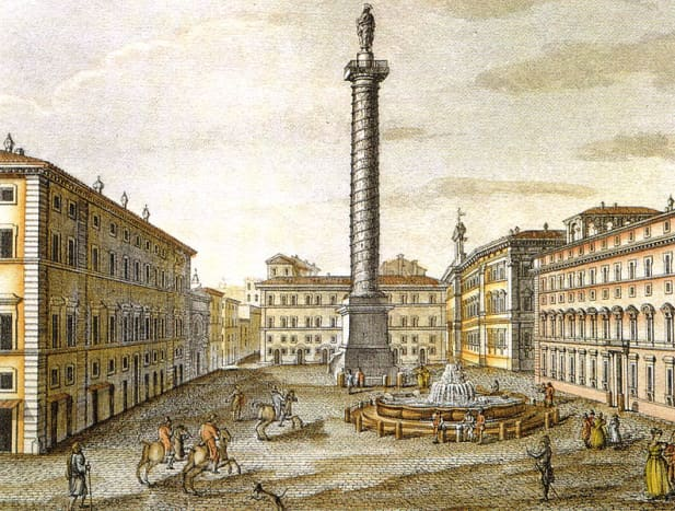 Piazza Colonna in Rome, near the Palace Colonna traditional family residence.
