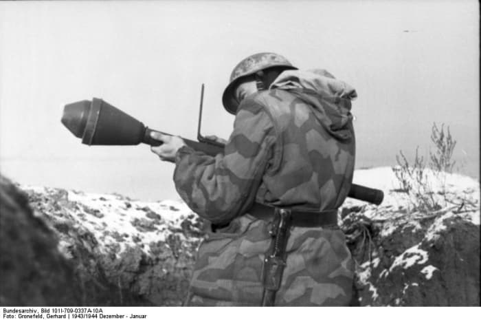 At the end of the war the German Army had tens of thousand of Panzerfaust a recoilless anti-tank weapon.