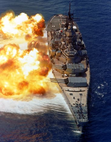 The USS Iowa during a live fire exercise
