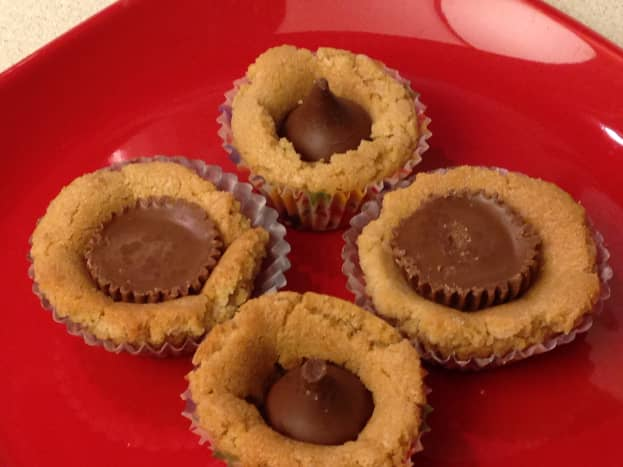 Cookie dough with Hershey Kisses and Reese Peanut Butter Cups