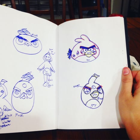I started with a sketch for the design of my Angry Birds hoodies.  At first I thought about making masks, but later decided to add the Angry Bird features directly to the hoodies.