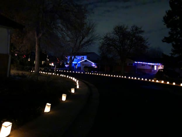 Block and blocks of luminaria highlight the curved streets in this neighborhood, off Windermere and south of Ridge Road.