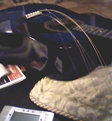 Strings still on bridge.