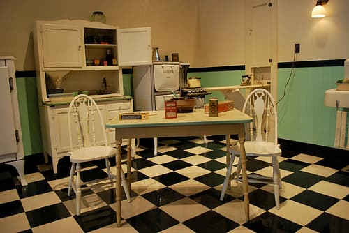50s Kitchen in Turquoise, black, and white