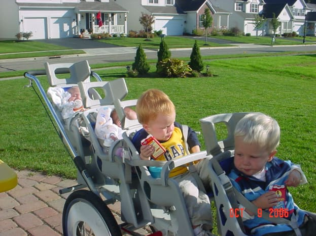 Getting ready for a walk with our Quad Runabout stroller