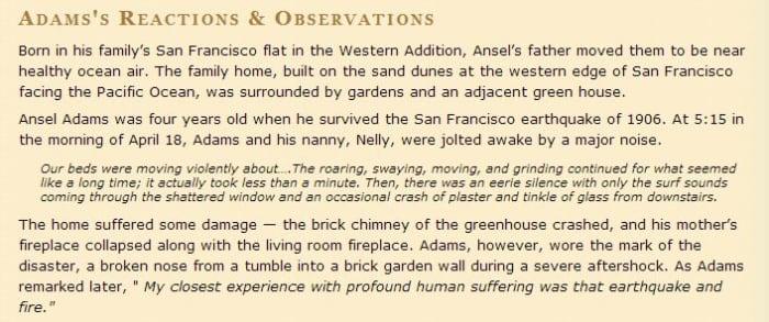 Eyewitness statement by Ansel Adams