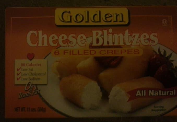 A box of ready made, frozen blintzes.