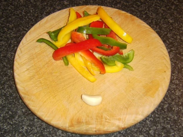 Sliced bell peppers and garlic