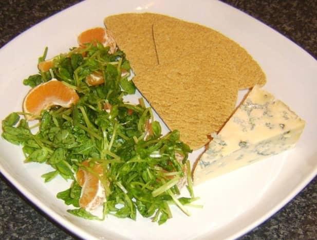 Clementine salad, Stilton and oatcakes