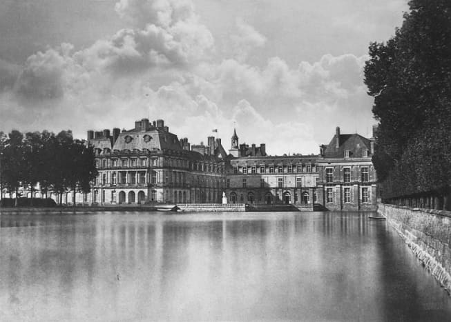 Chateau de Fontainebleau - France. Castle reflecting in the water by Gustave Le Gray.