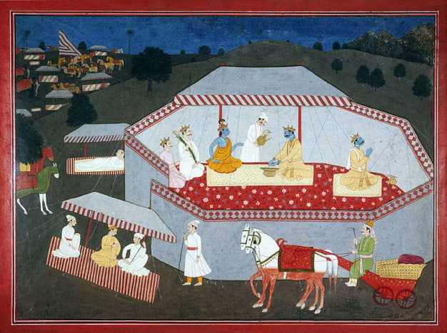 Arjuna chooses Krishna, Artist unknown, India, Himachal Pradesh, 1790-1800.