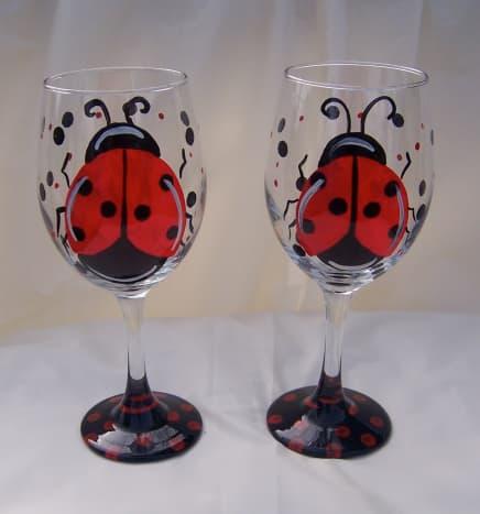 Just too cute ladybug wine glasses