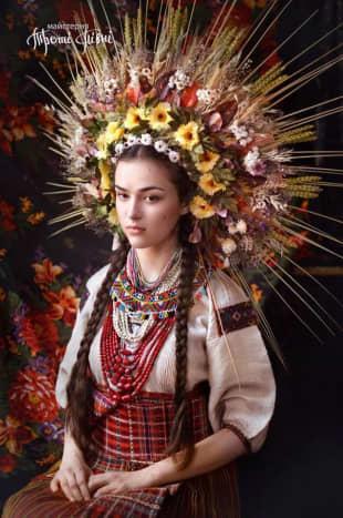 A recreation of Ukrainian wedding dress from an old surviving photo