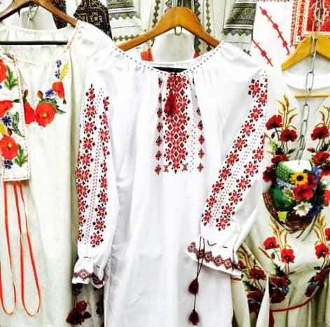 Vyshyvanka stand at an outdoor market in Kyiv, Ukraine