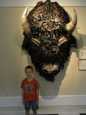 We started our time enjoying the local art that's featured in the state capitol building. A wide variety of art is displayed ranging from Navajo-inspired textiles to majestic paintings to this enormous bison head collage (a favorite of my kids).
