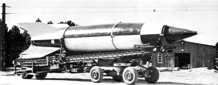 The German V-2 on its mobile launch pad. It was the most advanced flying weapon of the Second World War. The V-2 would set the stage for all future wars.
