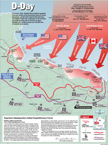June 6, 1944, the Allies establish a bridgehead in Normandy France. It marked the beginning of the end for Adolf Hitler's Third Reich.