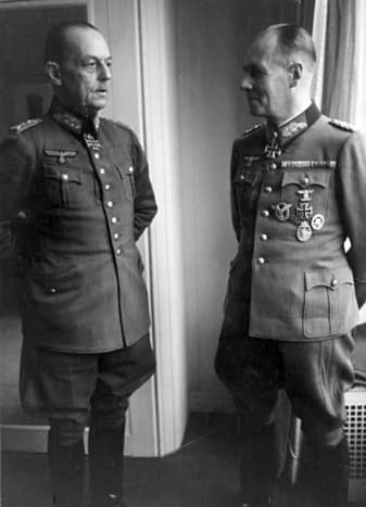 Erwin Rommel, December 1943 with Rundstedt (on the left). Rommel would be poisoned by the Gestapo after Hitler determined he was involved in the July 1944 assassinate plot.