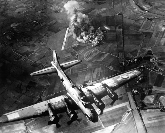 A raid by the 8th Air Force on the Focke Wulf factory at Marienburg, Germany (1943).