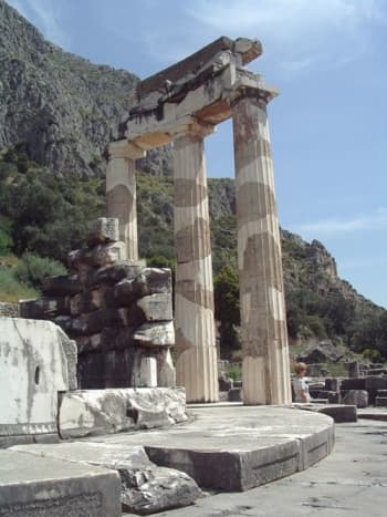 """The sanctuary of Athena Pronaia (""""in front of the sanctuary"""") is on the slopes below the Sanctuary of Apollo. There's hints that Gaia was worshipped here before Apollo and Athena came on the scene."""